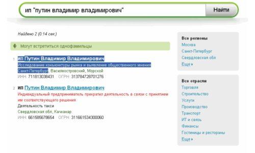 Пример отображения сведений о деятельности предпринимателя в ЕГРИП