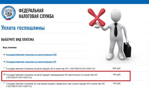 Оплата пошлины при закрытии ИП