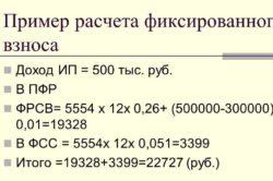 Пример расчета фиксированного взноса
