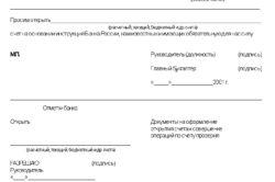 Заявление на открытие расчетного счета ИП