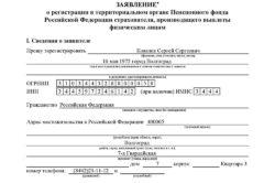 Заявление о регистрации ИП в ПФР