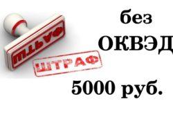 Штраф за работу без ОКВЭД 5000 руб.