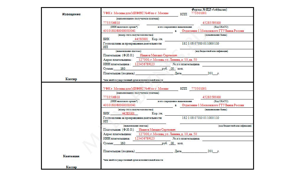 оплата госпошлины за закрытие ип 2013